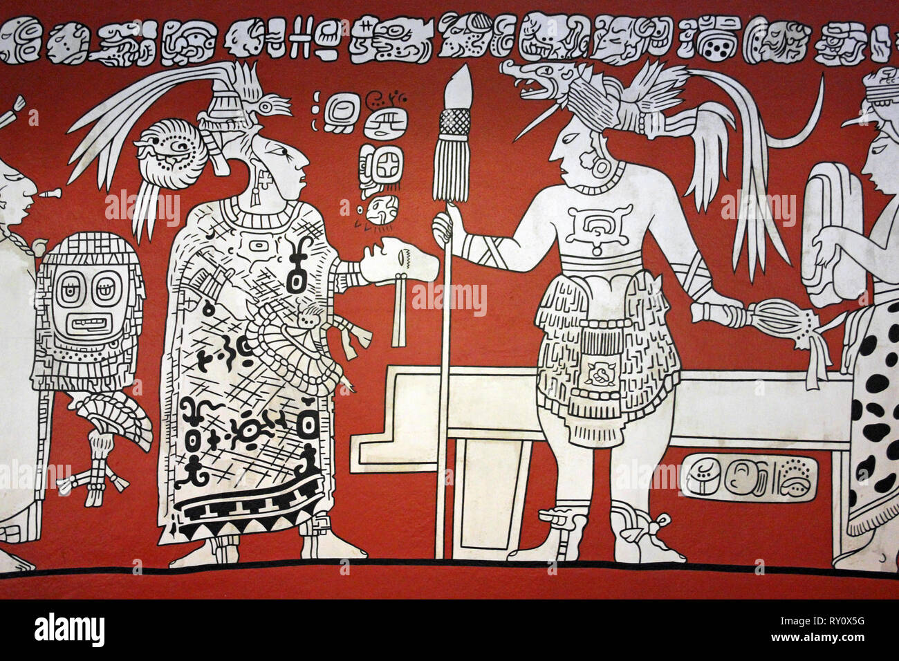 Modern Mayan Painting Depicting Human Sacrifice Stock Photo