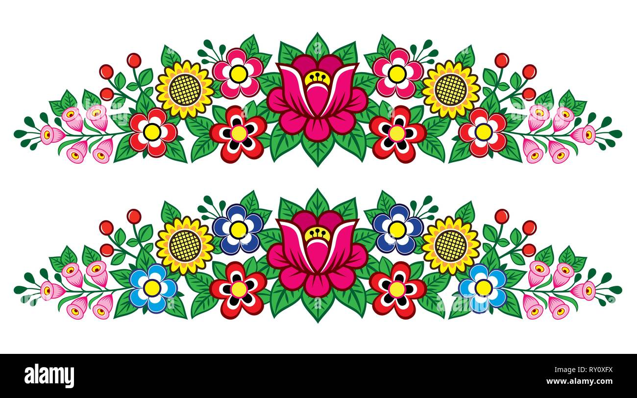 Polish folk art vector floral long decoration, Zalipie decorative pattern with flowers and leaves - greeting card, wedding invitation - Stock Image