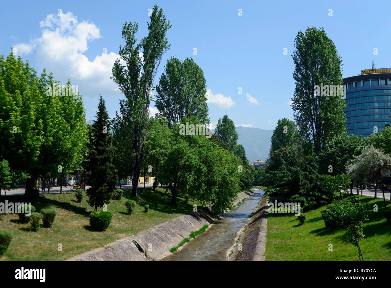 Park on Boulevard Bajram Curri, Downtown, Tirana, Albania - Stock Image