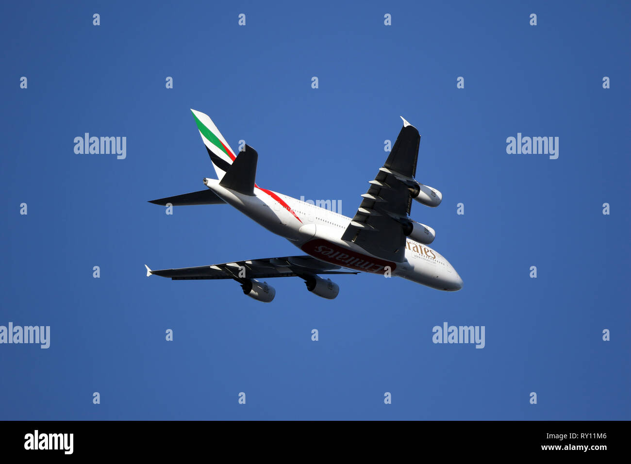 London, UK. 10th Mar, 2019. An Emirates airplane flies above The Emirates Stadium at the Arsenal v Manchester United English Premier League football match at The Emirates Stadium, London, on March 10, 2019. Credit: Paul Marriott/Alamy Live News Stock Photo