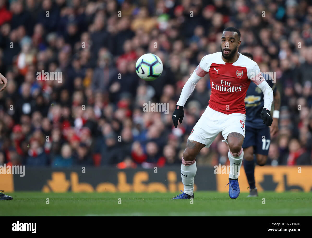 London, UK. 10th Mar, 2019. Alexandre Lacazette (A) at the Arsenal v Manchester United English Premier League football match at The Emirates Stadium, London, on March 10, 2019. **Editorial use only, license required for commercial use. No use in betting, games or a single club/league/player publications** Credit: Paul Marriott/Alamy Live News - Stock Image