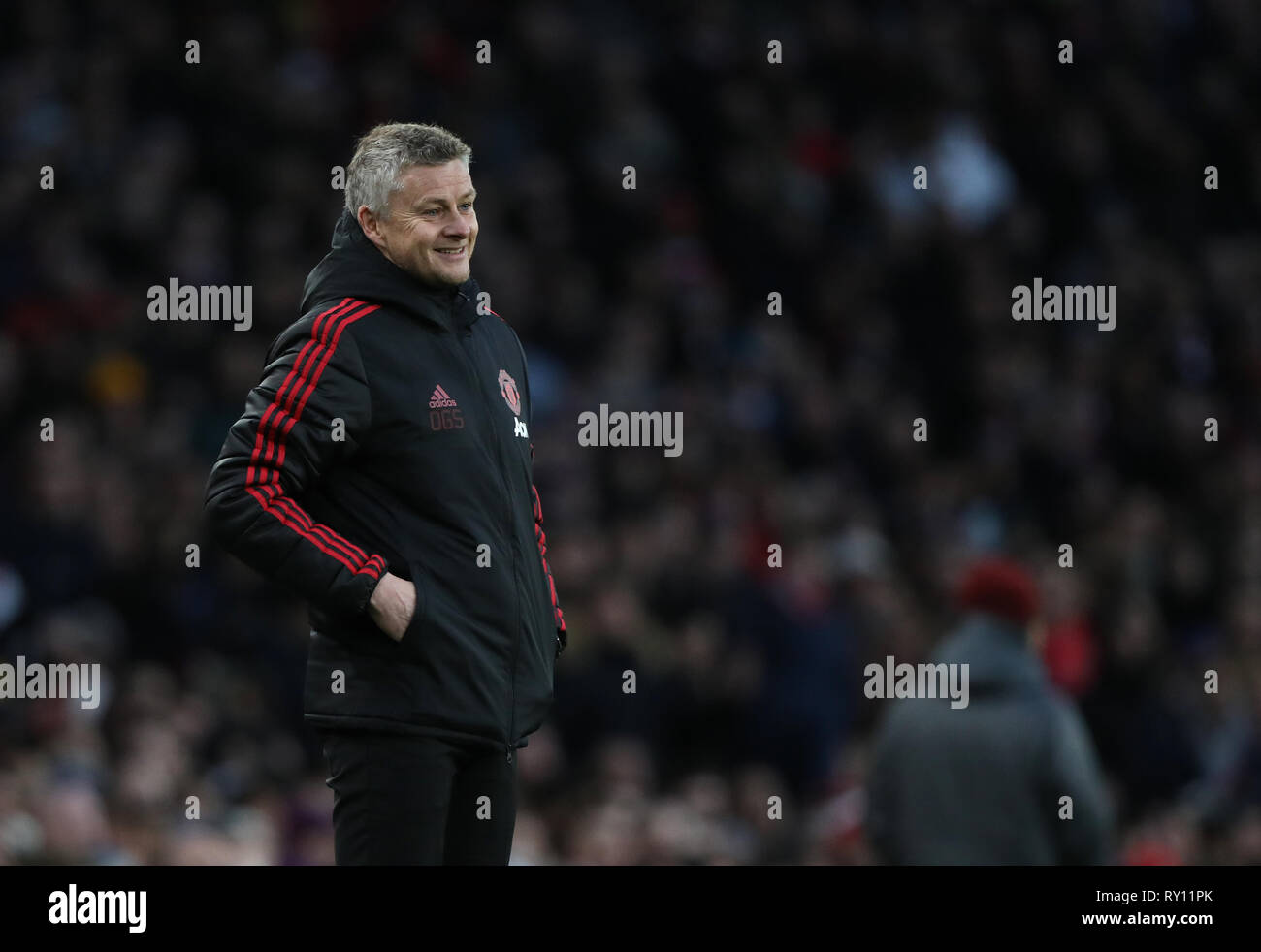 London, UK. 10th Mar, 2019. Ole Gunnar Solskjaer (Man Utd caretaker manager) at the Arsenal v Manchester United English Premier League football match at The Emirates Stadium, London, on March 10, 2019. **Editorial use only, license required for commercial use. No use in betting, games or a single club/league/player publications** Credit: Paul Marriott/Alamy Live News - Stock Image