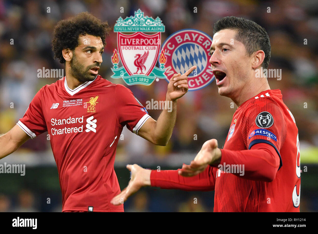 PHOTOMONTAGE: Showdown of the forwardstars Mohamed SALAH (Liverpool) and Robert LEWANDOWSKI (FC Bayern Munich). Preview of the CL Final Fantasy Tournament: FC Bayern Munich (M) - Liverpool (LIV), Football Champions League, Round of 16, on 13/03/2019. ALLIANZAREN A. DFL REGULATION PROHIBIT ANY USE OF PHOTOGRAPHS AS IMAGE SEQUENCES AND / OR QUASI VIDEO. | usage worldwide - Stock Image