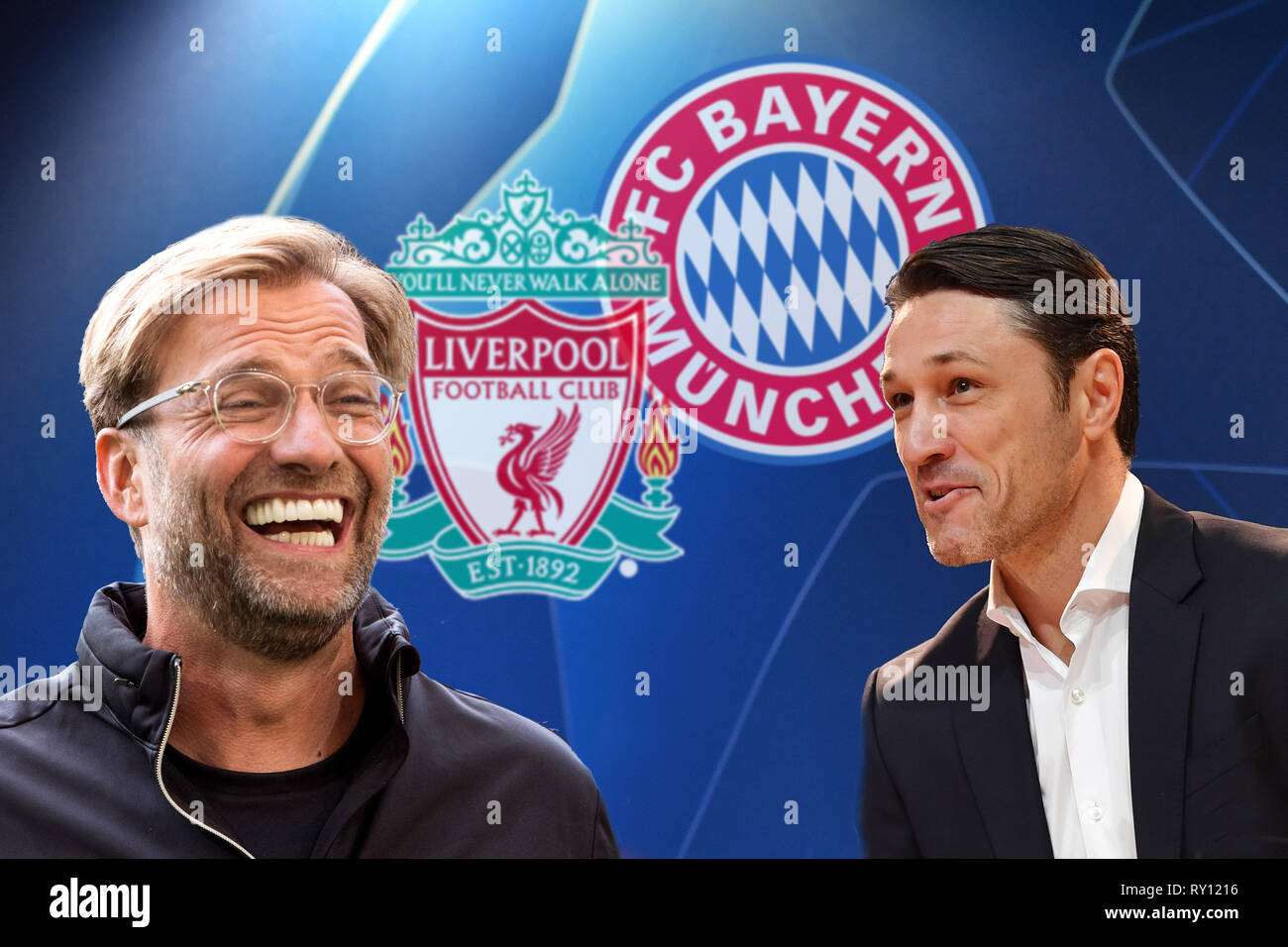 PHOTO MOUNTAIN: Preview of the CL Final Fantasy Tournament: Niko KOVAC (coach Bayern Munich, re) and Juergen KLOPP (coach Liverpool) meet. FC Bayern Munich (M) - Liverpool (LIV), Football Champions League, Round of 16, on 13/03/2019. ALLIANZAREN A. DFL REGULATION PROHIBIT ANY USE OF PHOTOGRAPHS AS IMAGE SEQUENCES AND / OR QUASI VIDEO. | usage worldwide - Stock Image