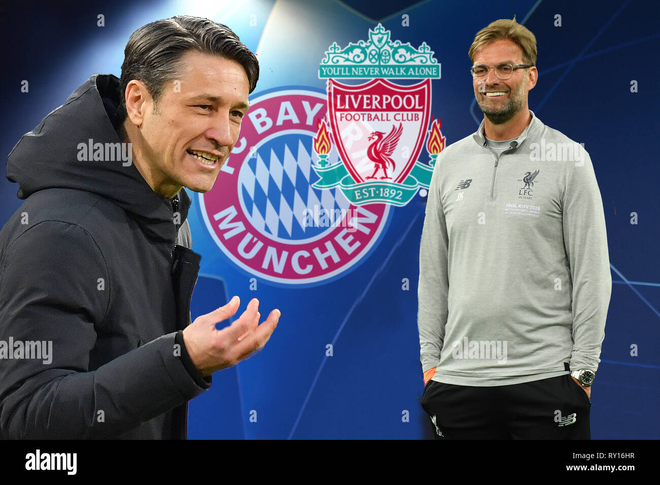 PHOTO MOUNTAIN: Preview of the CL Final Fantasy Tournament: Niko KOVAC (coach FC Bayern Munich, left) and Juergen KLOPP (coach Liverpool) meet. FC Bayern Munich (M) - Liverpool (LIV), Football Champions League, Round of 16, on 13/03/2019. ALLIANZAREN A. DFL REGULATION PROHIBIT ANY USE OF PHOTOGRAPHS AS IMAGE SEQUENCES AND / OR QUASI VIDEO. | usage worldwide - Stock Image