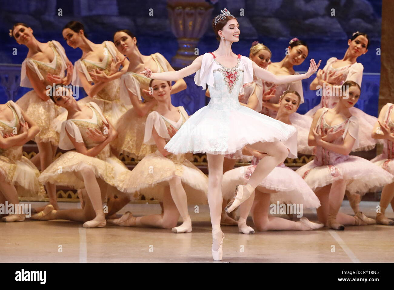 Moscow, Russia. 11th Mar, 2019. MOSCOW, RUSSIA - MARCH 11, 2019: Ballet dancer Yelizaveta Korneyeva (C) as Gulnare performs in a scene from the Le Corsaire production of the Voronezh Opera and Ballet Theatre, staged by Yuri Burlaka at Stanislavski and Nemirovich-Danchenko Moscow Music Theatre as part of the 2019 Golden Mask Russian Performing Arts Festival. Alexander Shcherbak/TASS Credit: ITAR-TASS News Agency/Alamy Live News - Stock Image