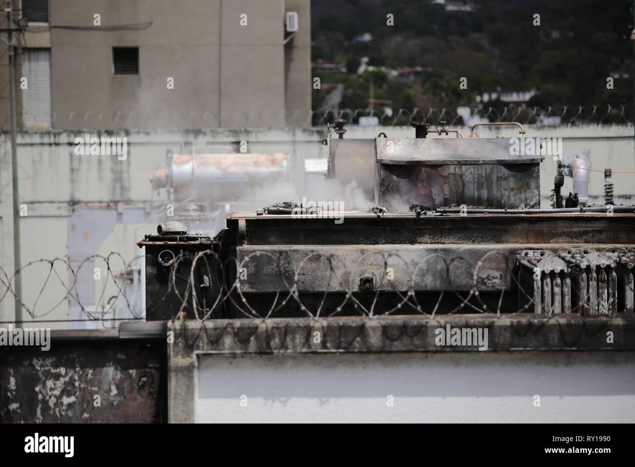 Caracas, Venezuela  11th Mar, 2019  Smoke rises from the power plant