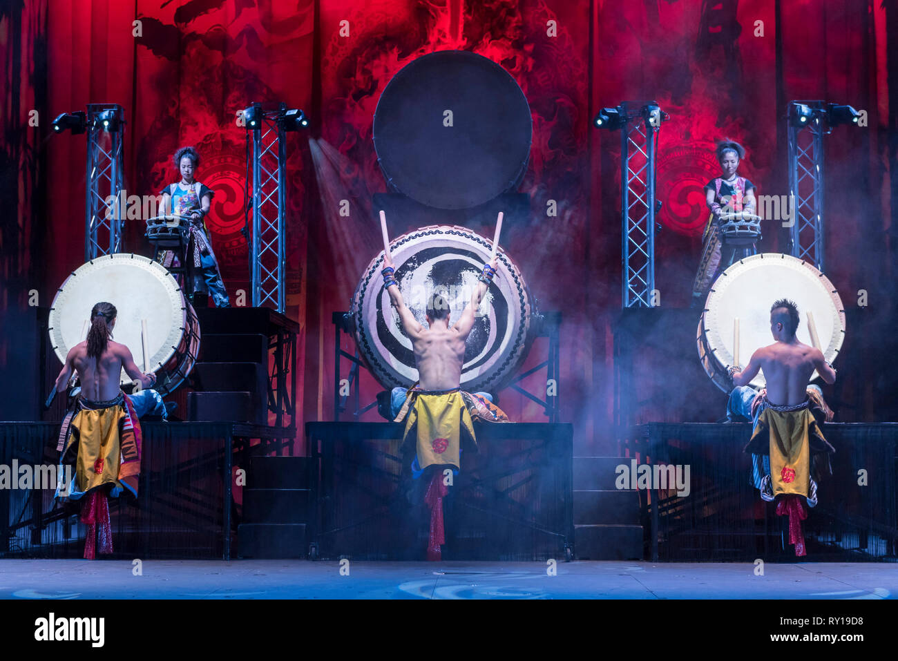 London, UK.  11 March 2019.  Preview by Yamato, the Japanese taiko drumming troupe, performing their newest work 'Passion'.  The show opens to the public at The Peacock theatre 12 to 31 March 2019.  Used in Shinto rituals, the Odaiko drums weigh over half a tonne each and are played by the troupe with ferocity and strength to produce a heart-thumping torrent of music.  Credit: Stephen Chung / Alamy Live News - Stock Image