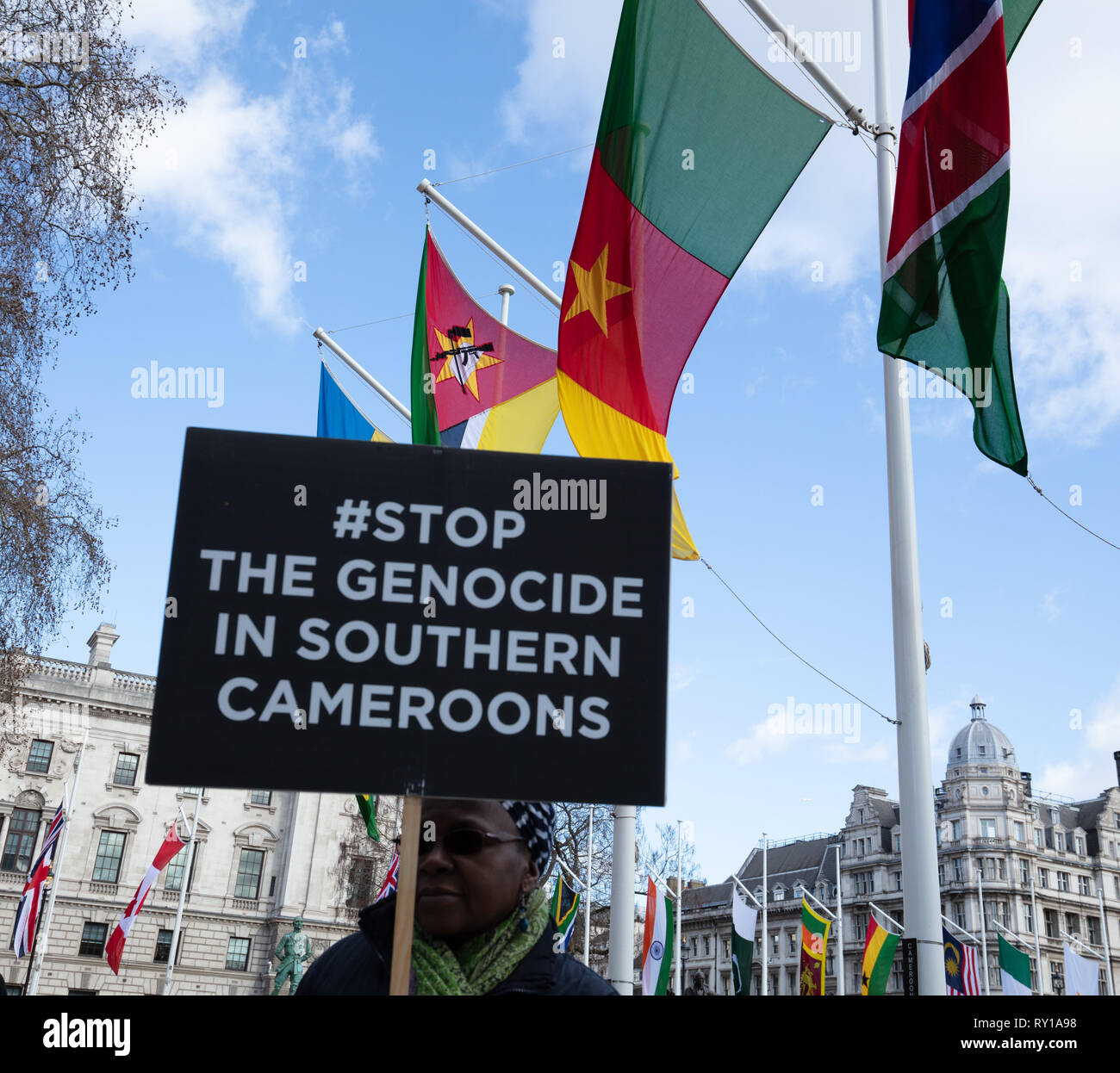 London, UK. 11th Mar, 2019. Protester demonstrates on Parliament Square, London, UK today, Commonwealth Day, against Cameroons alleged genocide. Credit: Joe/Alamy Live News - Stock Image