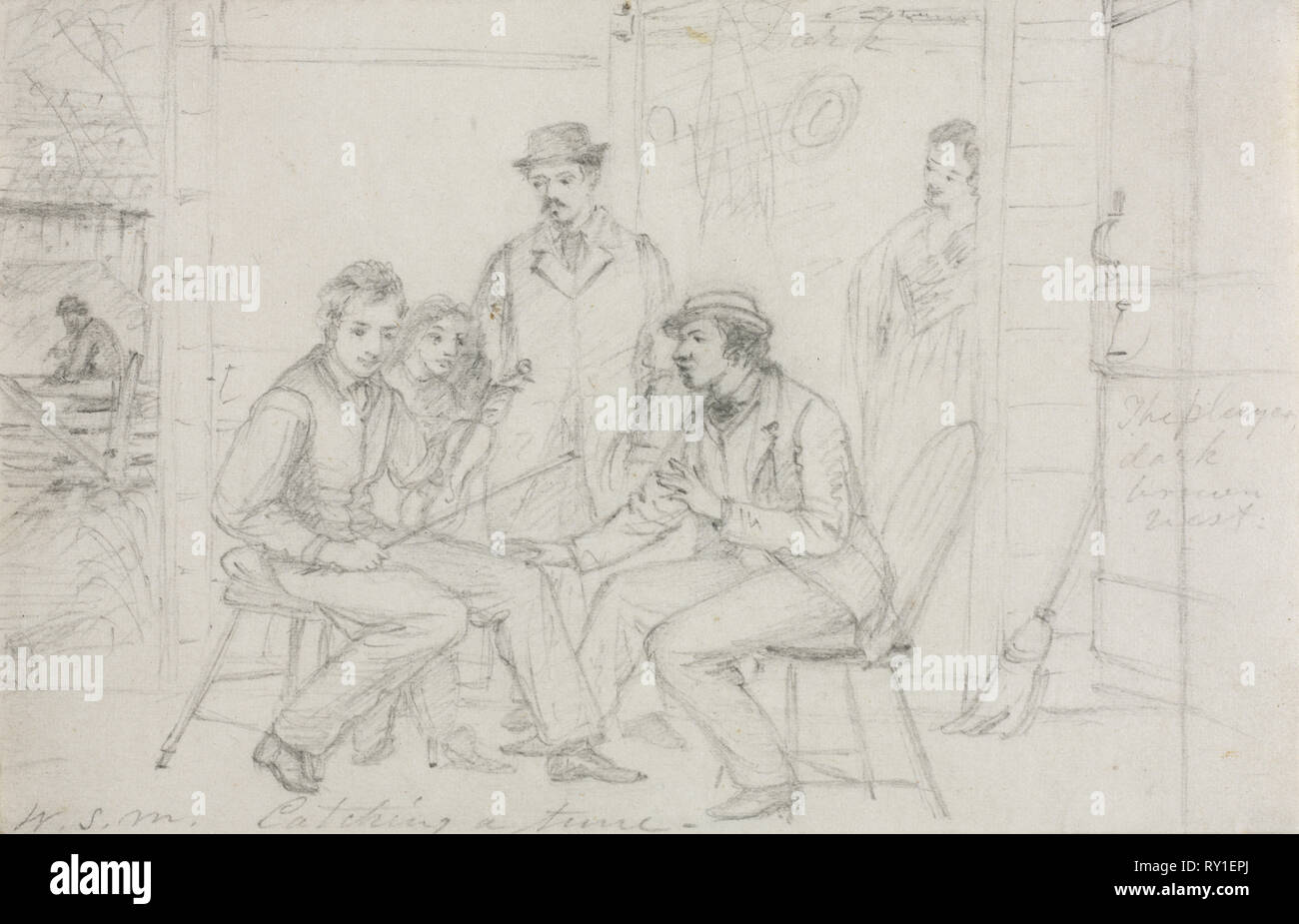 Catching a Tune, probably 1867. William Sidney Mount (American, 1807-1868). Graphite; sheet: 10 x 15.4 cm (3 15/16 x 6 1/16 in - Stock Image