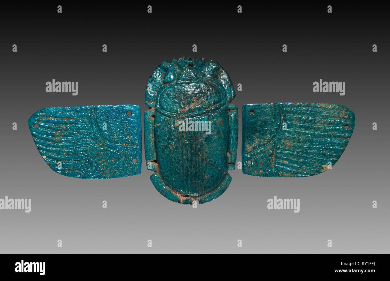 Winged Pectoral Scarab, 664-525 BC. Egypt, Late Period, Dynasty 26. Deep turquoise faience; overall: 7 cm (2 3/4 in - Stock Image