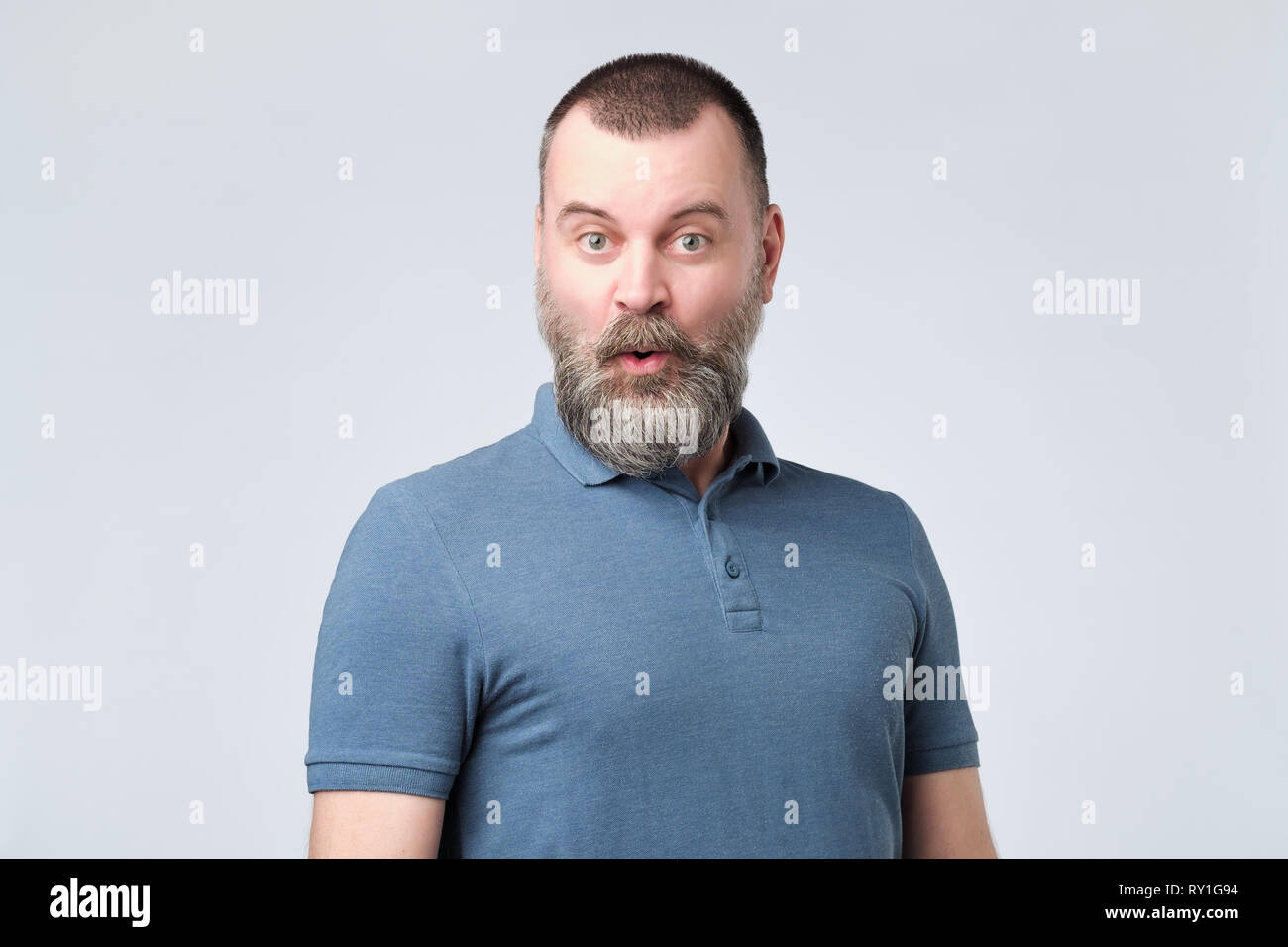 Peachy Mature Bearded Man With Amazed Face As If He Is Chosen For Some Natural Hairstyles Runnerswayorg