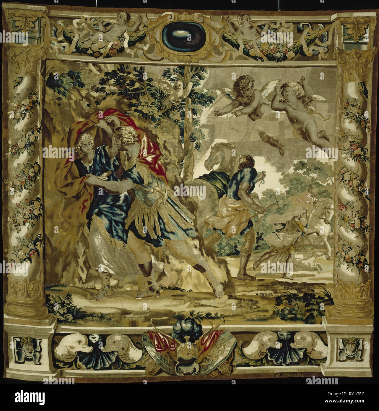 Dido and Aeneas seek shelter from a storm, 1679. Giovanni Francesco Romanelli (Italian, 1610-1662), Michael Wauters (Flemish, 1679). Tapestry weave: silk and wool; overall: 416.4 x 418.8 cm (163 15/16 x 164 7/8 in - Stock Image