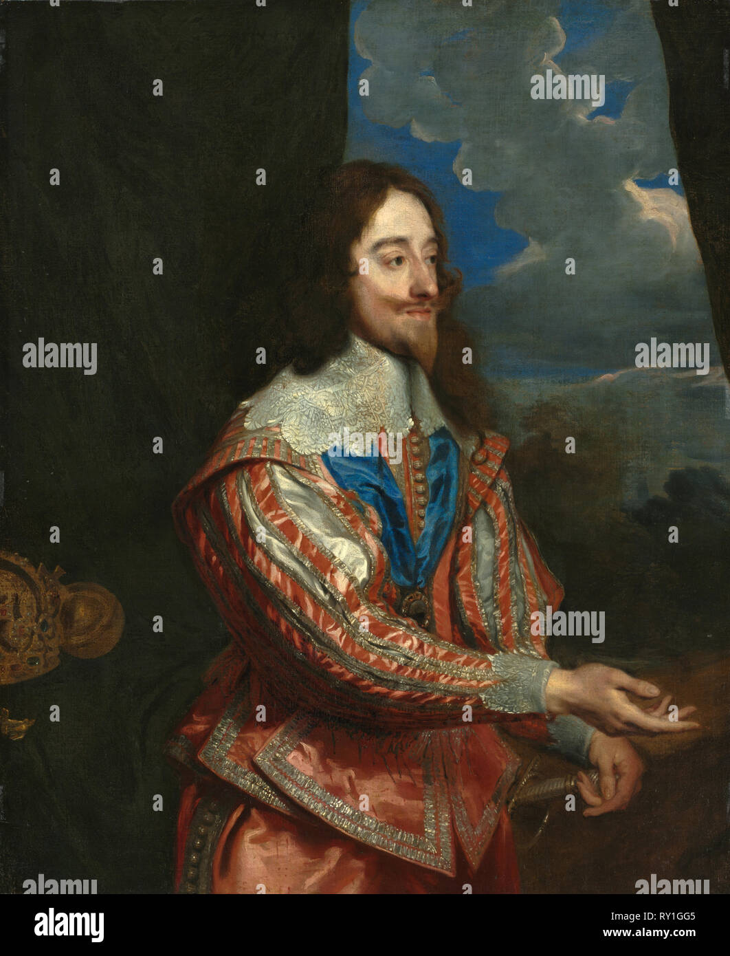 Portrait of Charles I (1600-1649), 17th century or later. Copy after Anthony van Dyck (Flemish, 1599-1641). Oil on canvas; framed: 153.7 x 130.2 x 105.4 cm (60 1/2 x 51 1/4 x 41 1/2 in.); unframed: 116.8 x 96.3 cm (46 x 37 15/16 in - Stock Image