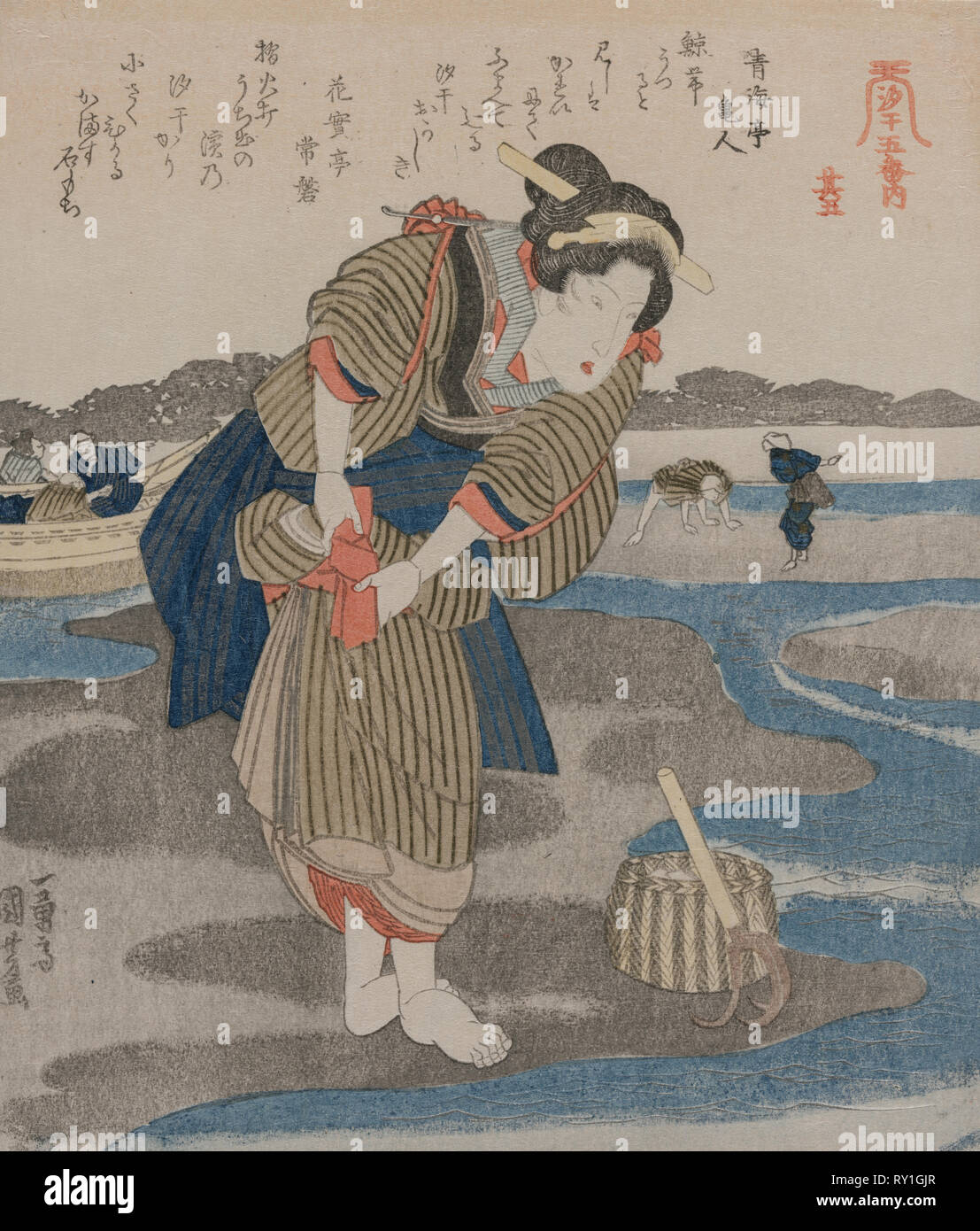 Woman Fastening her Skirts; from the series Five Pictures of Low Tide, late 1820s. Utagawa Kuniyoshi (Japanese, 1797-1861). Color woodblock print; sheet: 21.2 x 18.4 cm (8 3/8 x 7 1/4 in - Stock Image
