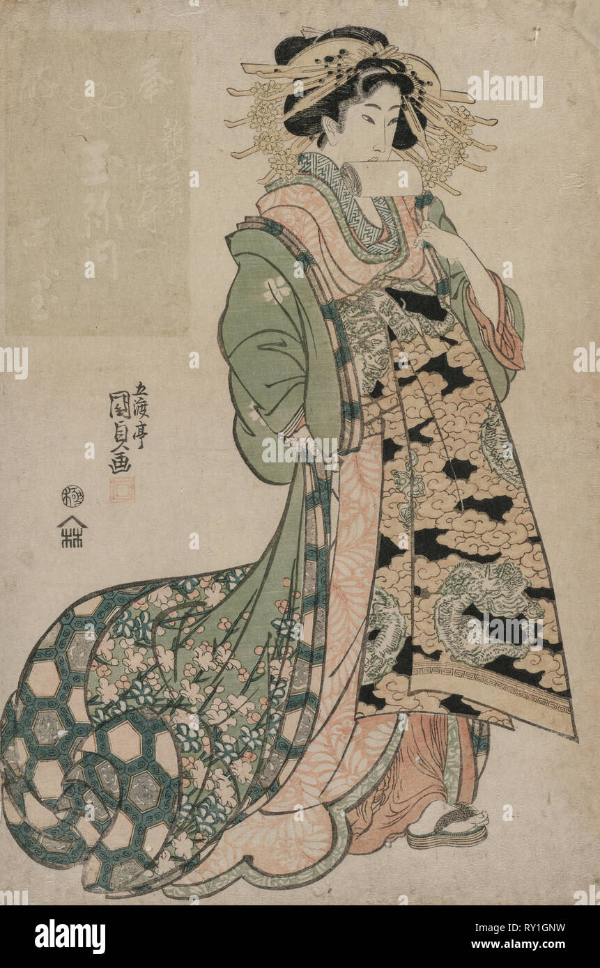 The Courtesan Shiratama of the Tamaya, c. early 1810s. Utagawa Kunisada (Japanese, 1786-1865). Color woodblock print; sheet: 39 x 26.6 cm (15 3/8 x 10 1/2 in - Stock Image