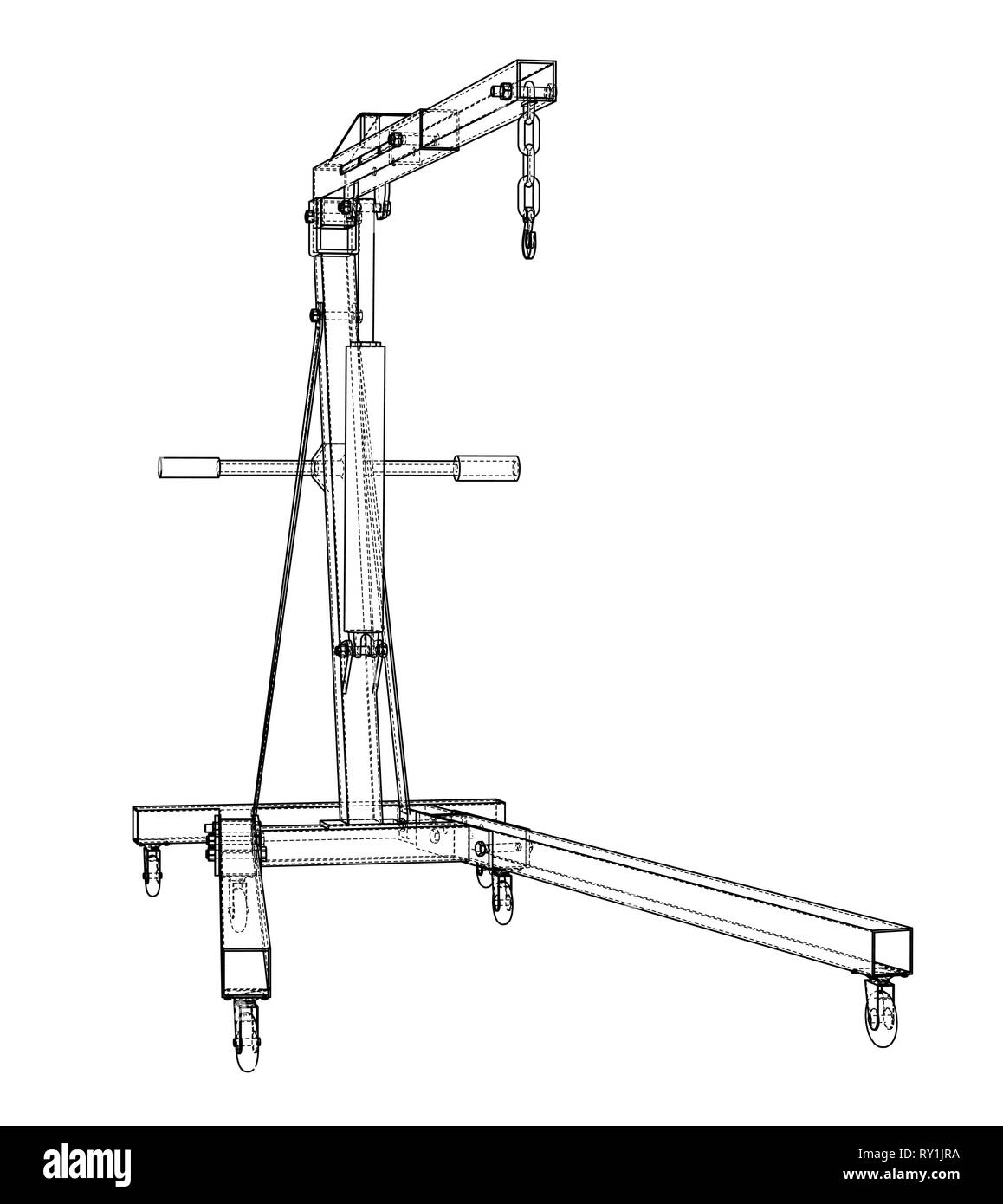 engine hoist outline  vector rendering of 3d