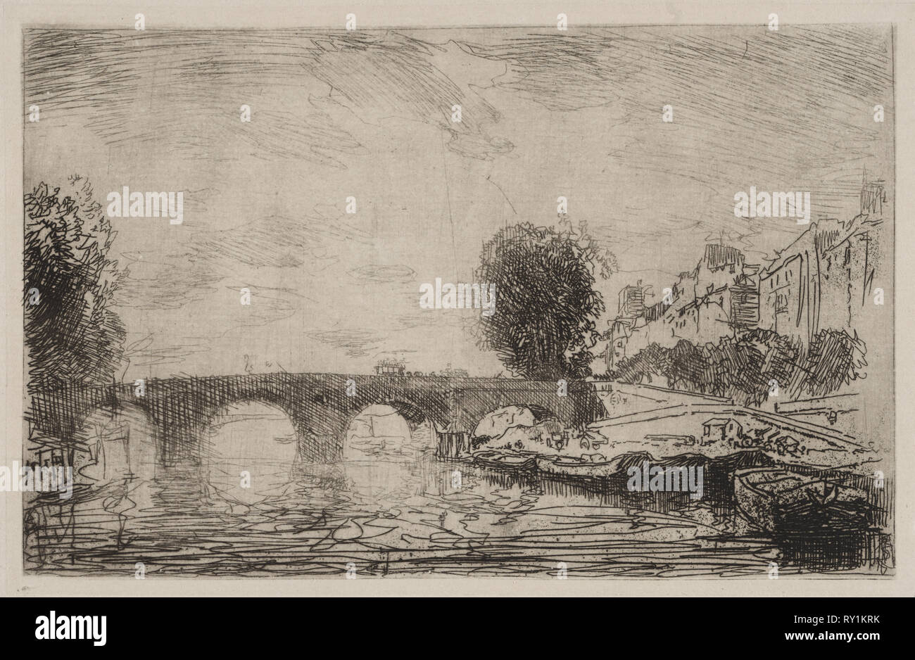 Sunset at Pont Marie, 1890. Auguste Louis Lepère (French, 1849-1918). Etching - Stock Image