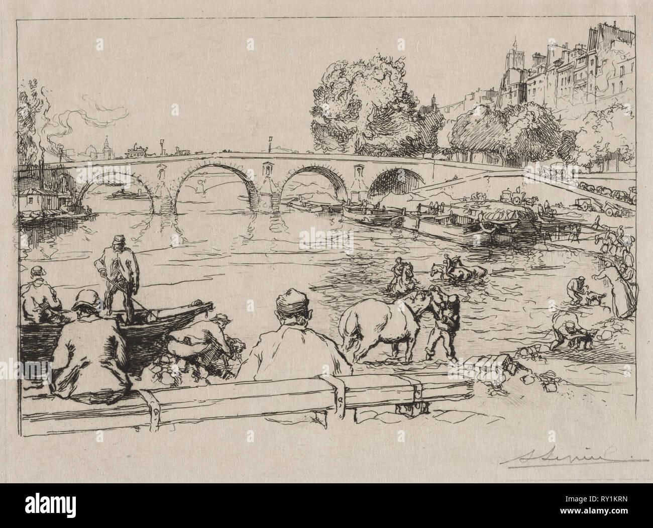 L'Abreuvoir at Pont Marie, 1912. Auguste Louis Lepère (French, 1849-1918). Etching - Stock Image