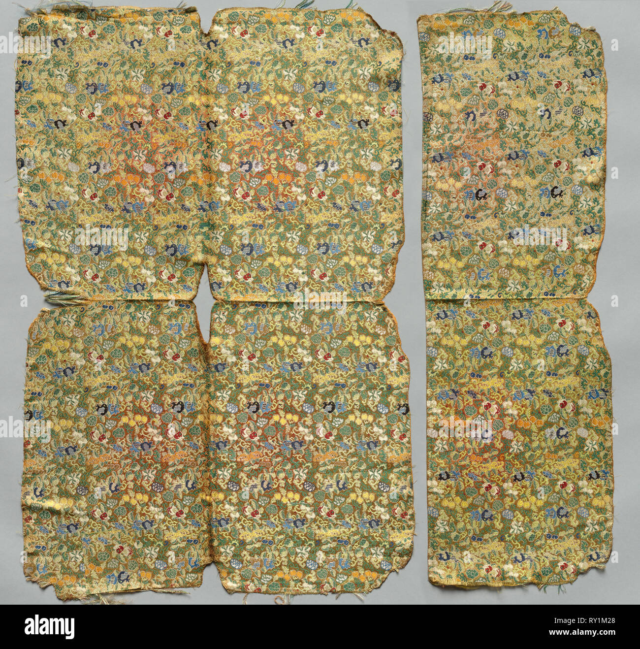 Fragments, 1800s. China, Qing Dynasty (1644-1912). Damask, silk; overall: 74 x 49 cm (29 1/8 x 19 5/16 in Stock Photo
