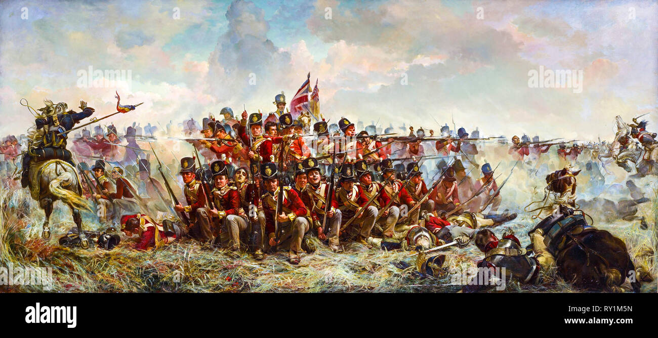 The 28th Regiment at Quatre Bras, Battle of Waterloo painting, 1875 by  Elizabeth Thompson (Lady Butler) - Stock Image