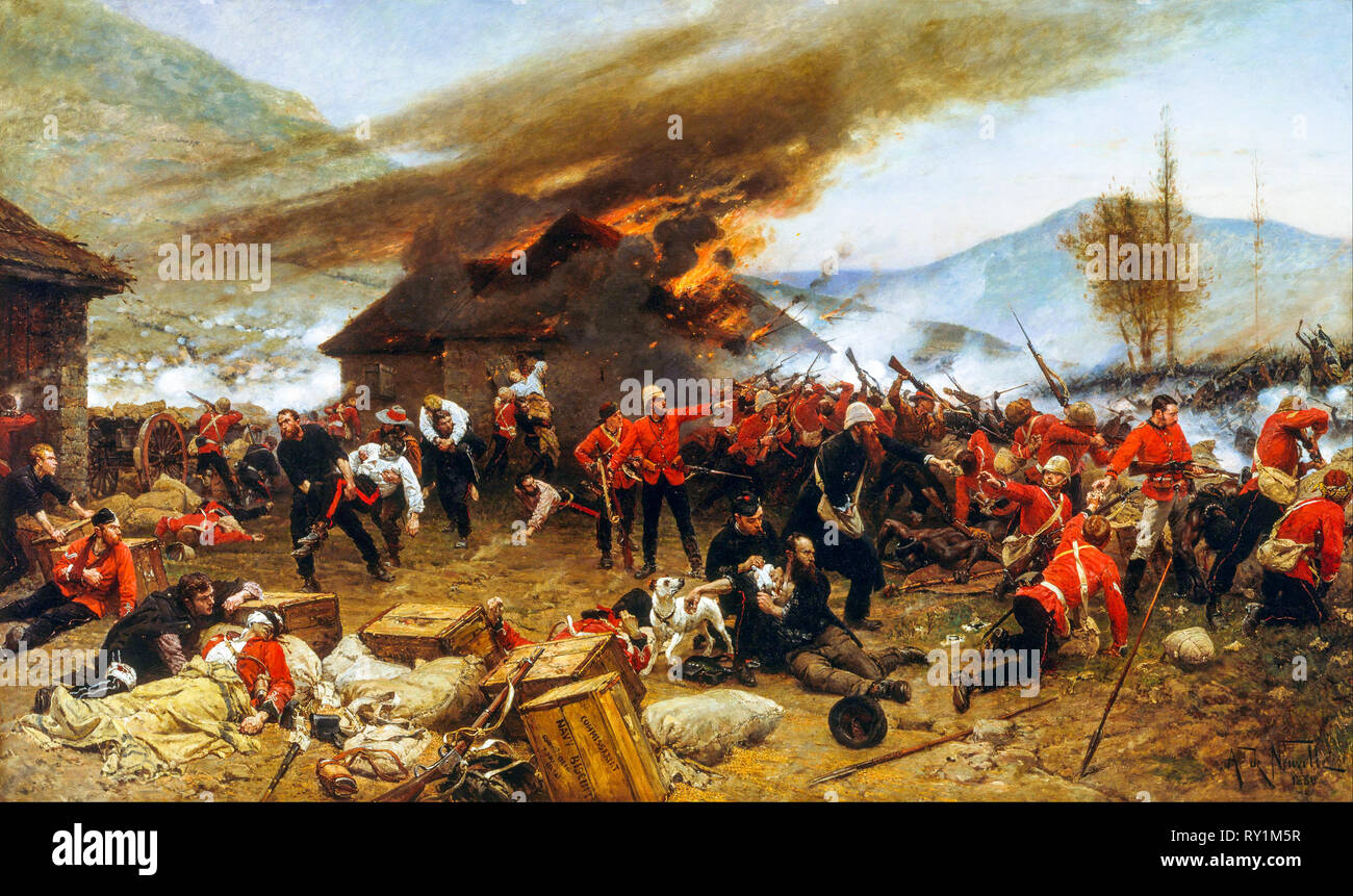 The defence of Rorke's Drift 1879, painting, 1880 by Alphonse de Neuville - Stock Image