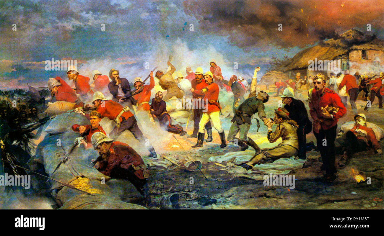 The Defence of Rorke's Drift, painting, 1880 by Lady Elizabeth Butler (Elizabeth Thompson) - Stock Image