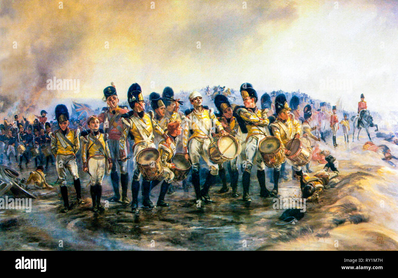 Steady the Drums and Fifes!, painting, 1897, by Elizabeth Thompson (Lady Butler) - Stock Image