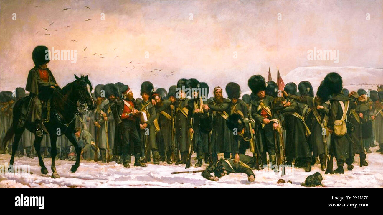 The Roll Call, painting, 1874 by Elizabeth Thompson (Lady Butler) - Stock Image