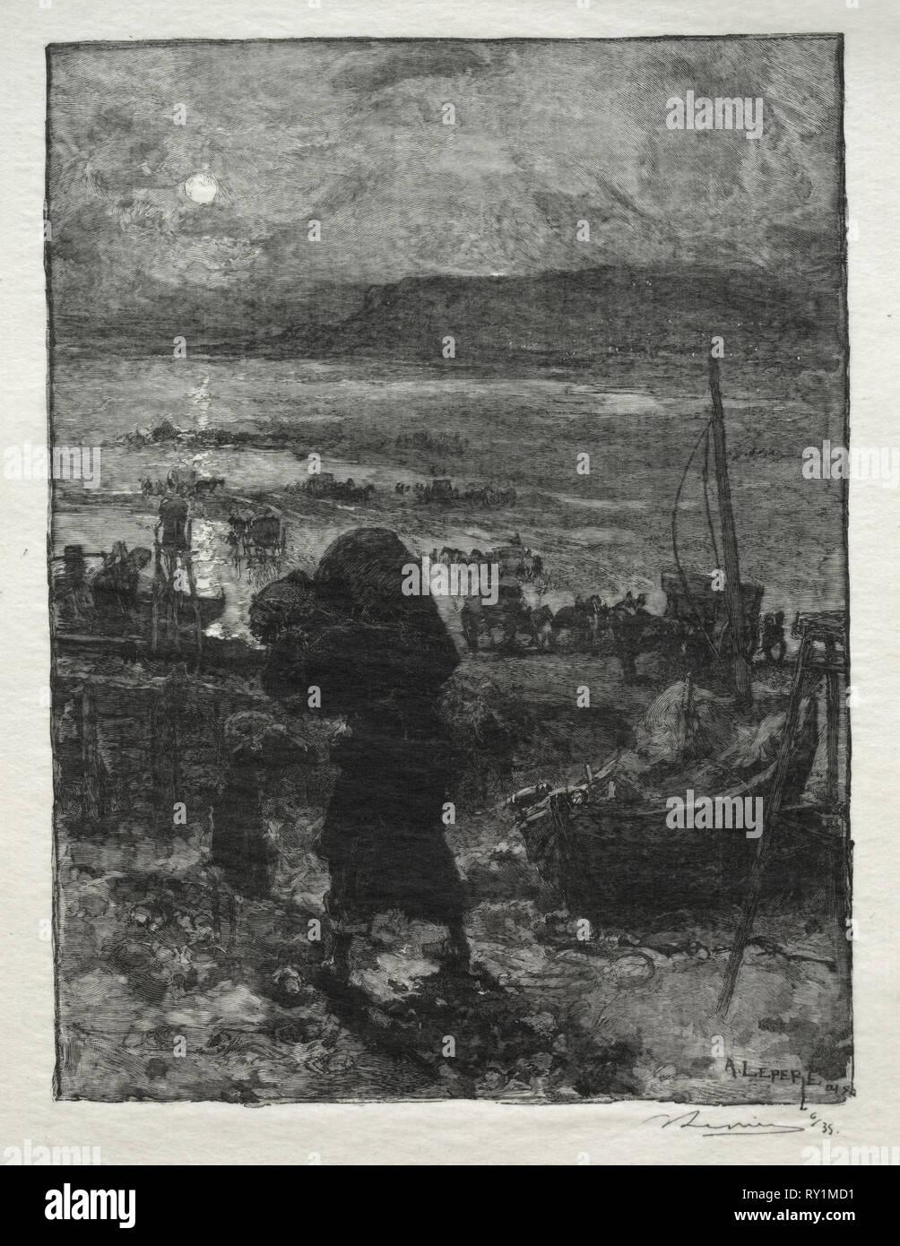 La Récolte du Sable. Auguste Louis Lepère (French, 1849-1918). Wood engraving - Stock Image