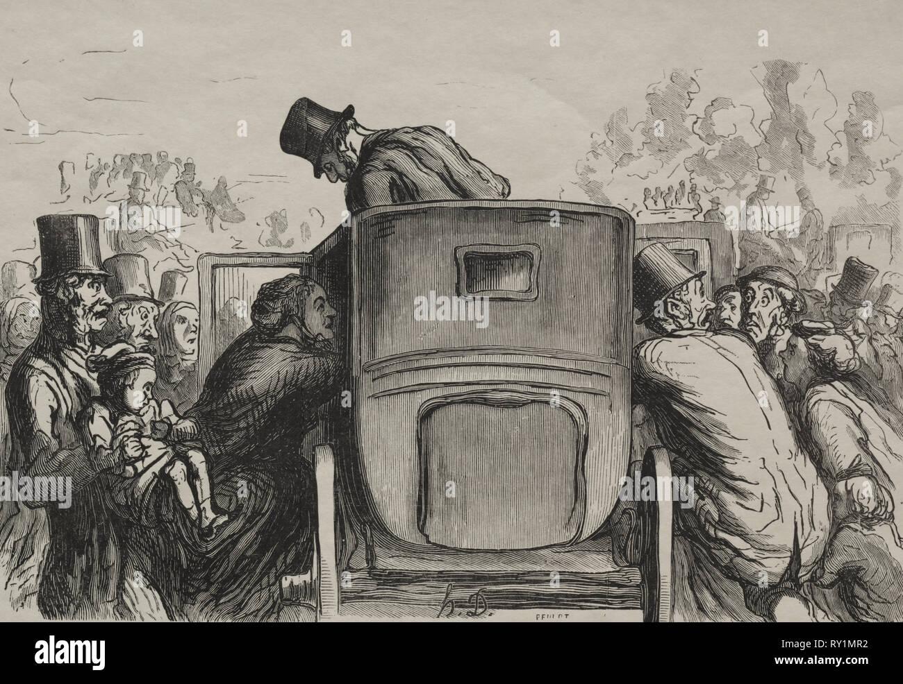 Exposition universelle:  L'etranger trouve toutes les facilités pour retourner à son hôtel. Honoré Daumier (French, 1808-1879). Wood engraving - Stock Image