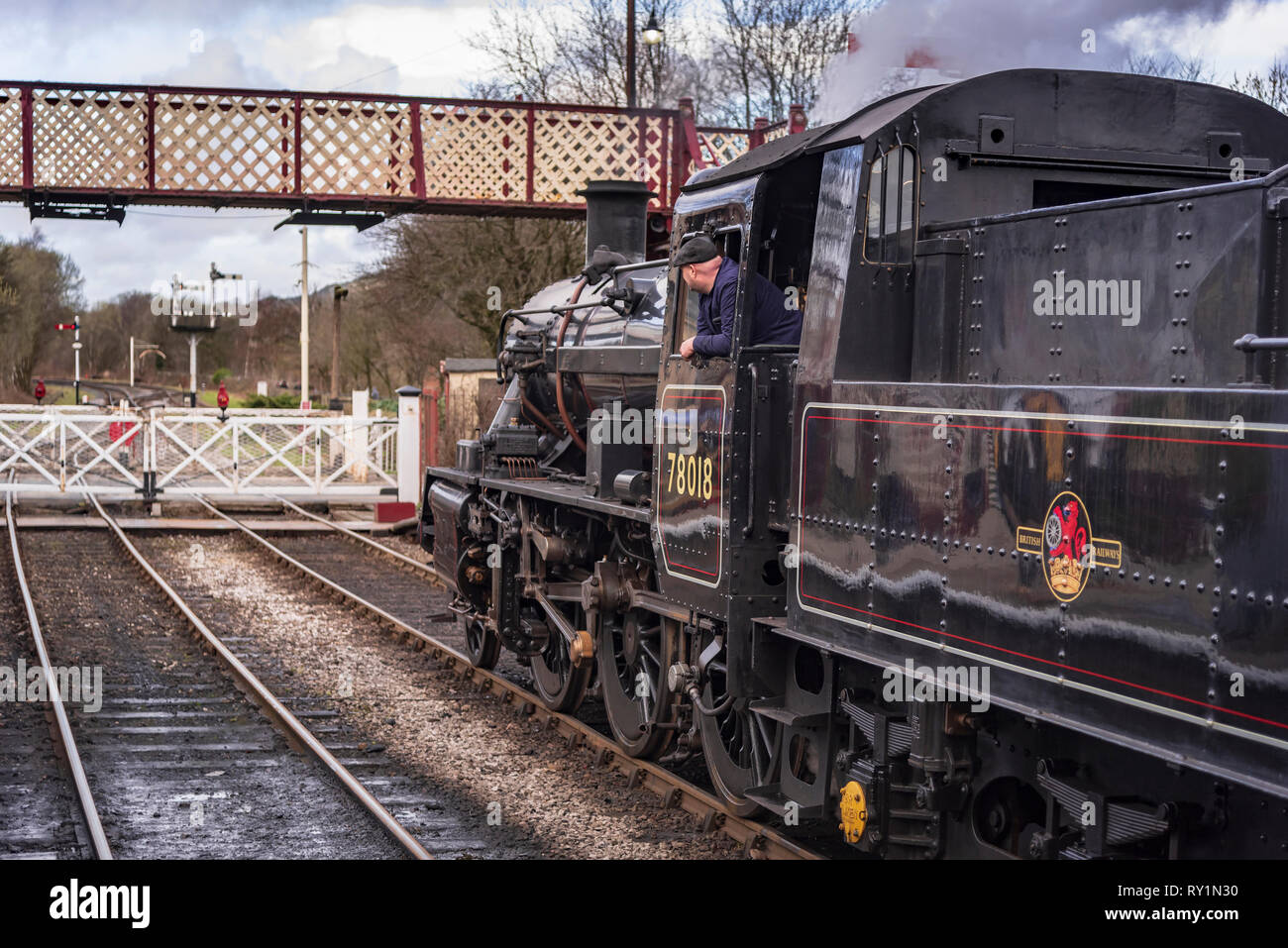 Esat Lancashire railway Spring steam gala 2019. 78018 is a BR Standard Class 2MT 2-6-0 Stock Photo