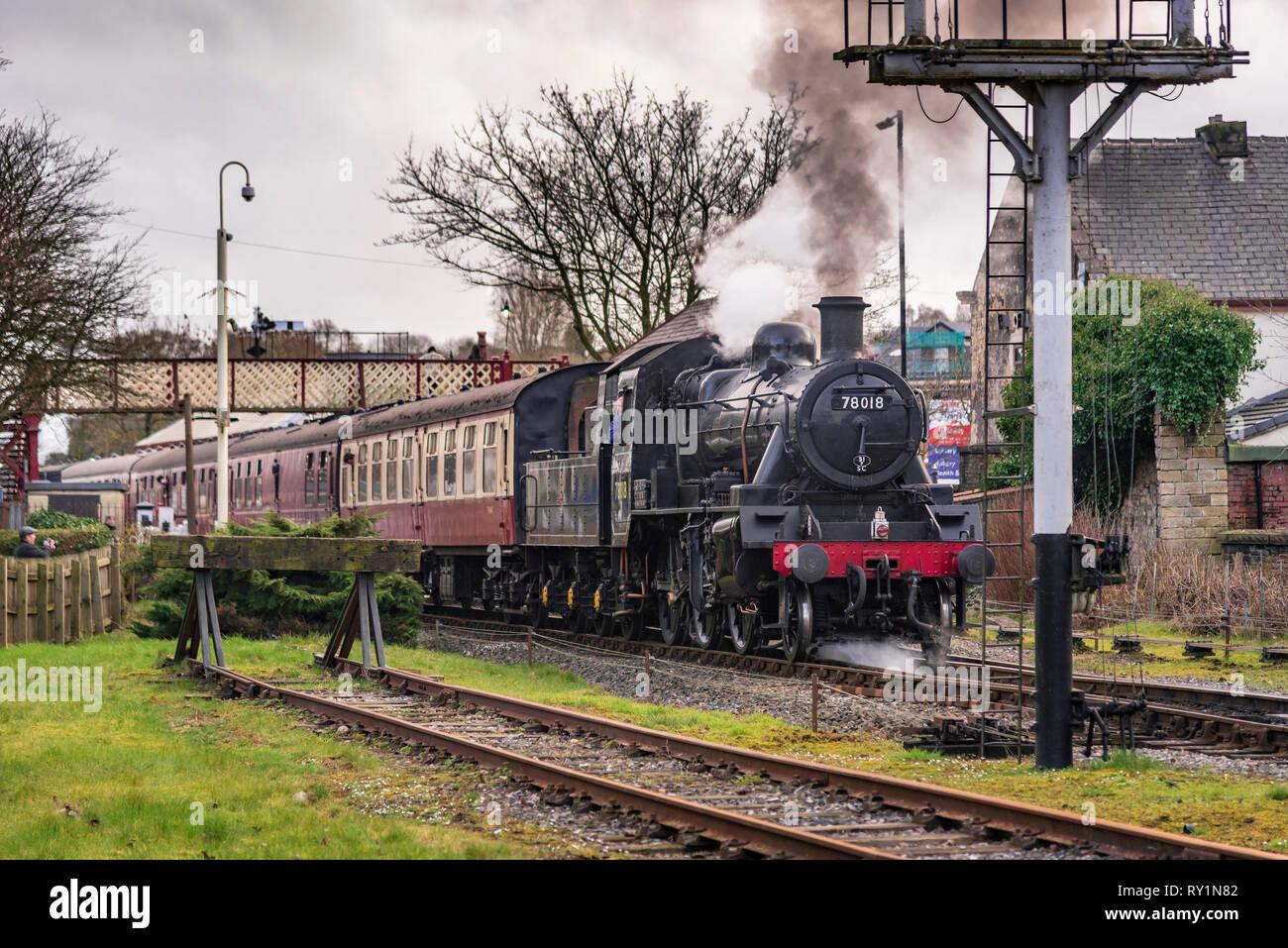 Esat Lancashire railway Spring steam gala 2019. 78018 is a BR Standard Class 2MT 2-6-0 Stock Photo