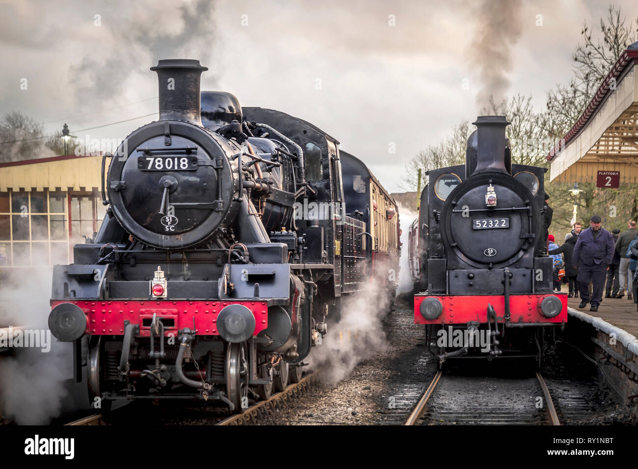 Esat Lancashire railway Spring steam gala 2019. 78018 is a BR Standard Class 2MT 2-6-0 - Stock Image
