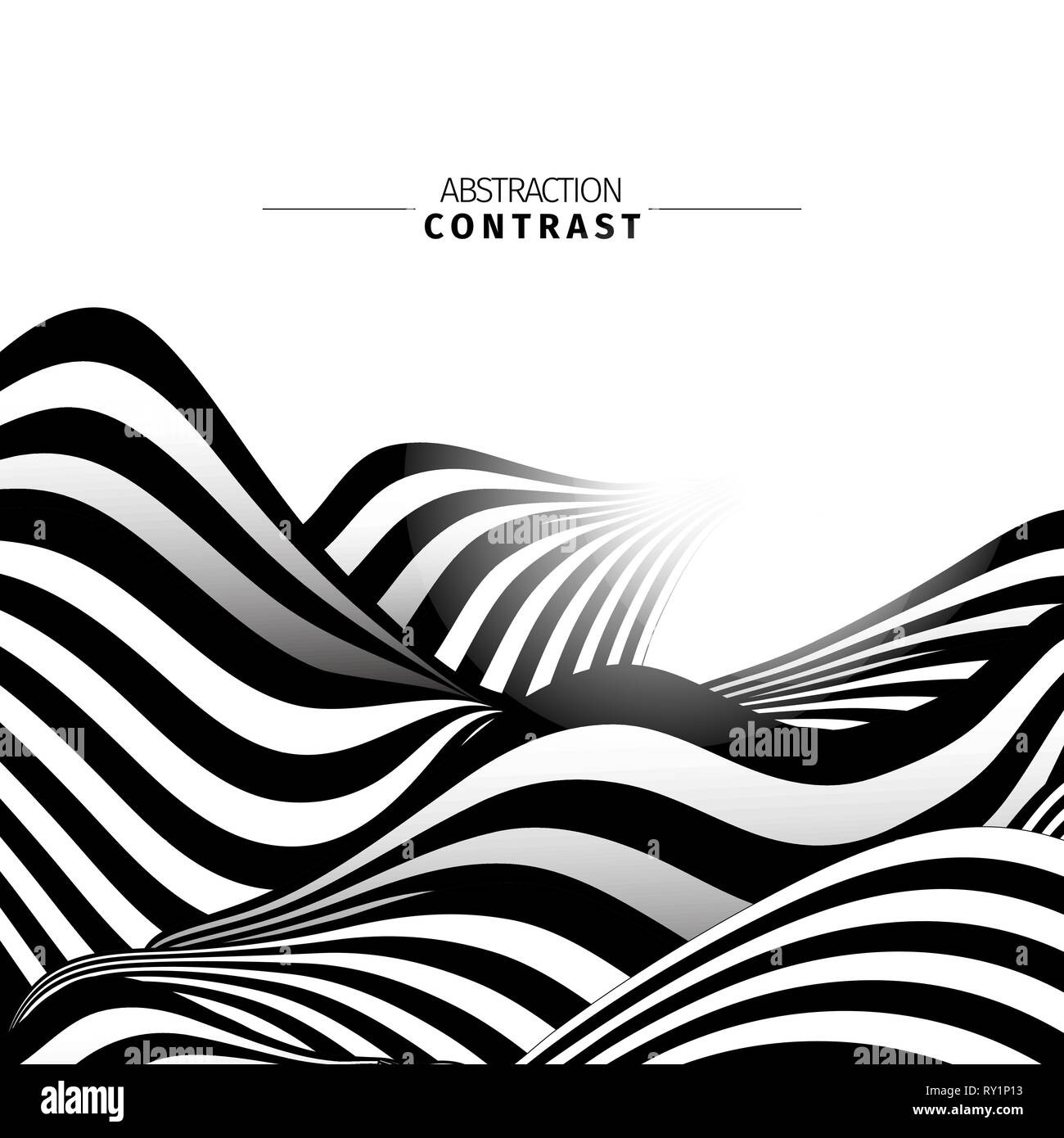 Abstract black and white waves color background with