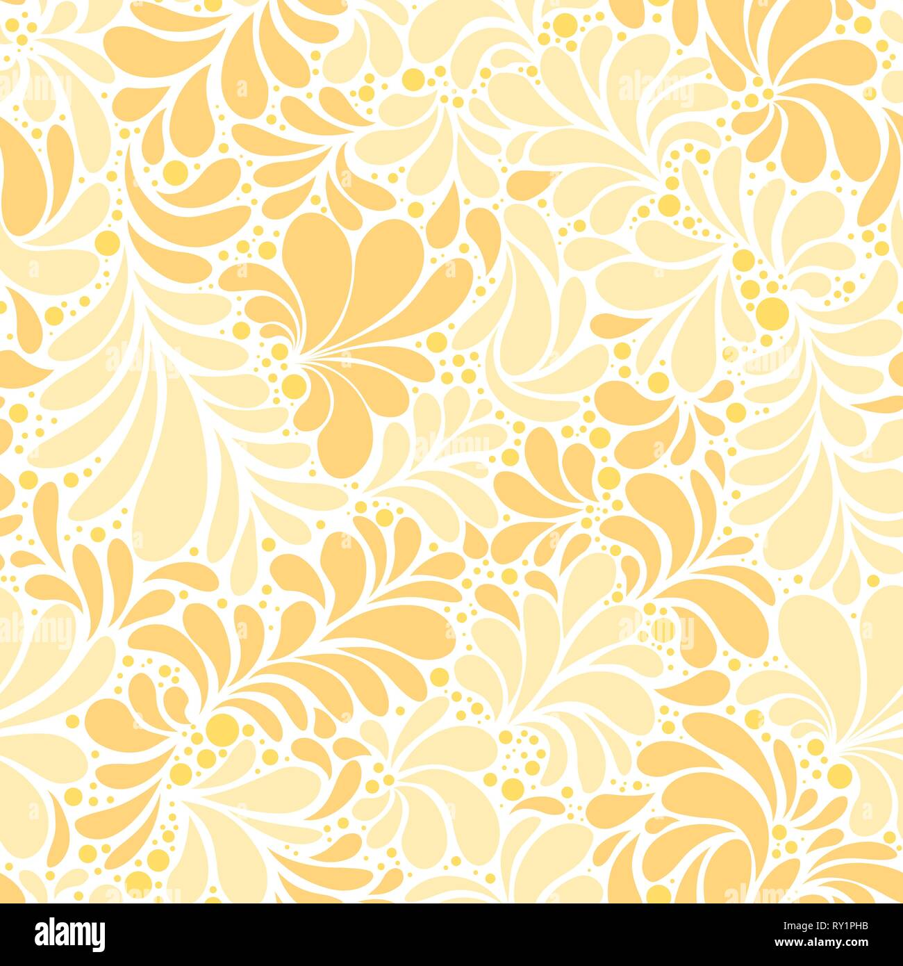 Paisley Or Damask Golden Floral Seamless Pattern Vector Ornament