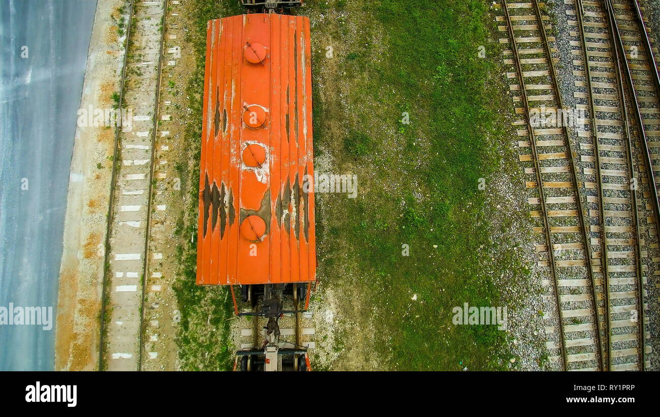 On the top view of the train loaders on the railway found outside the limestone factory - Stock Image