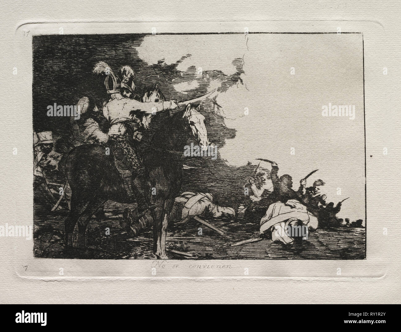 The Horrors of War:  They Do Not Agree. Francisco de Goya (Spanish, 1746-1828). Etching Stock Photo