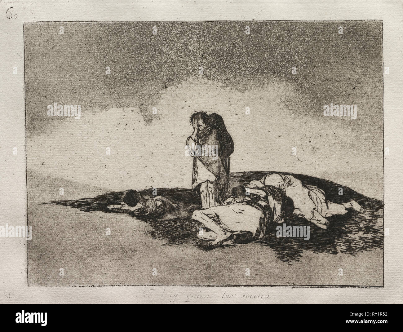The Horrors of War:  There is No One to Help Them. Francisco de Goya (Spanish, 1746-1828). Etching and aquatint - Stock Image