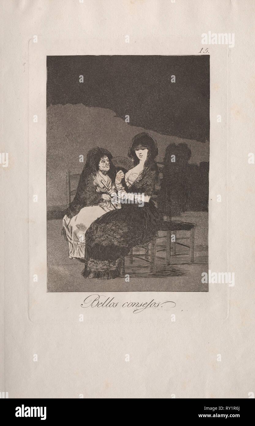 Caprichos:  Pretty Teachings.. Francisco de Goya (Spanish, 1746-1828). Etching and aquatint - Stock Image