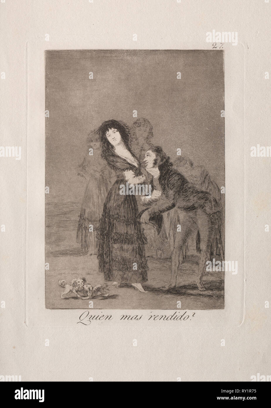 Caprichos:  Which of Them is the More Overcome?. Francisco de Goya (Spanish, 1746-1828). Etching and aquatint - Stock Image
