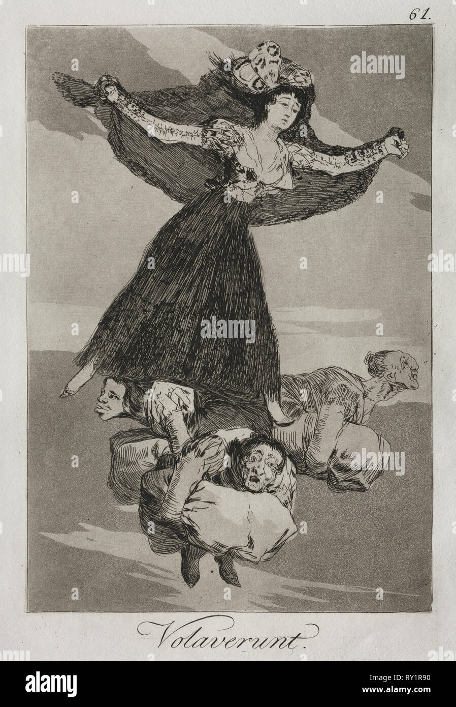 Caprichos:  They Have Flown. Francisco de Goya (Spanish, 1746-1828). Etching and aquatint - Stock Image