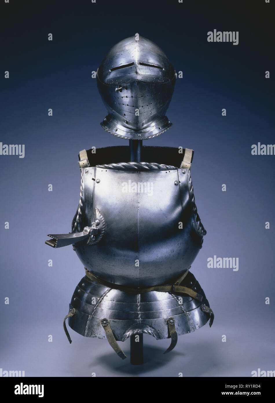 Elements from a Partial Suit of Armor, c. 1510-1530. Germany, 16th century. Steel with black paint - Stock Image