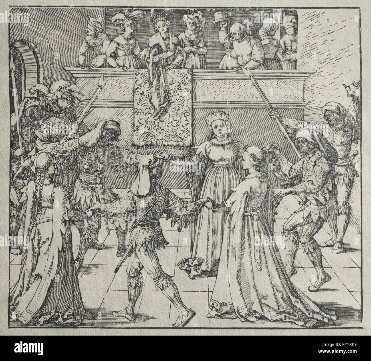 The Masquerade. Attributed to Albrecht Dürer (German, 1471-1528). Woodcut - Stock Image