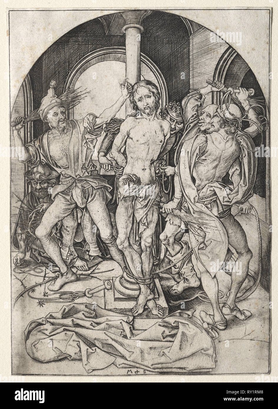 The Passion of Jesus Christ:  The Flagellation. Martin Schongauer (German, c.1450-1491). Engraving - Stock Image
