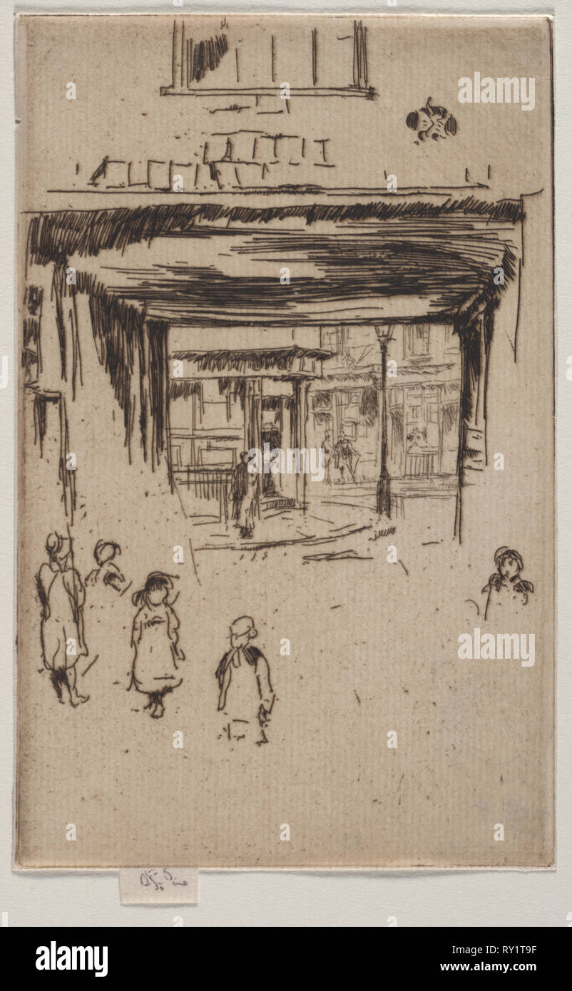 Drury Lane. James McNeill Whistler (American, 1834-1903). Etching - Stock Image
