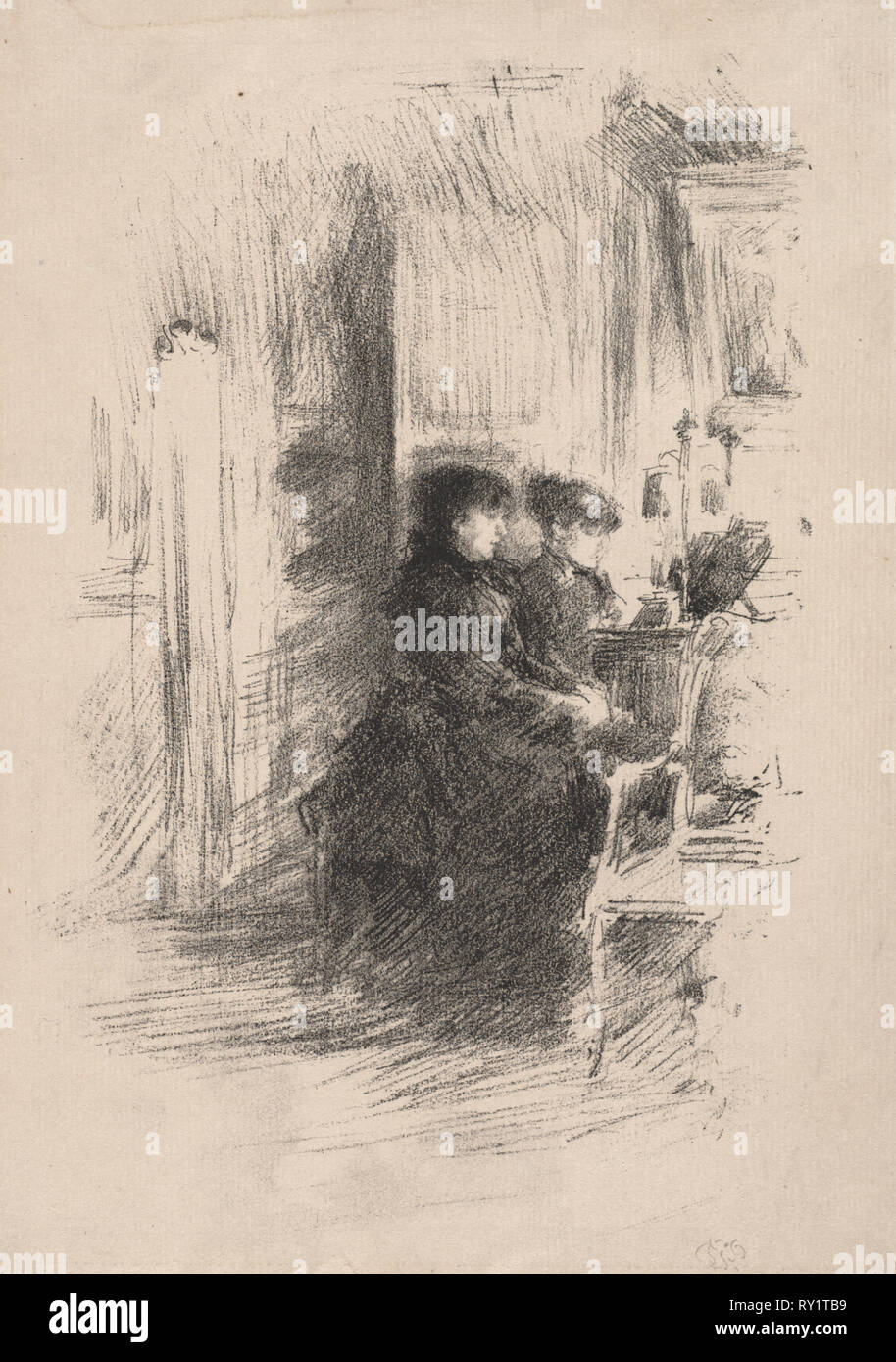 The Duet, 1894. James McNeill Whistler (American, 1834-1903). Lithograph - Stock Image