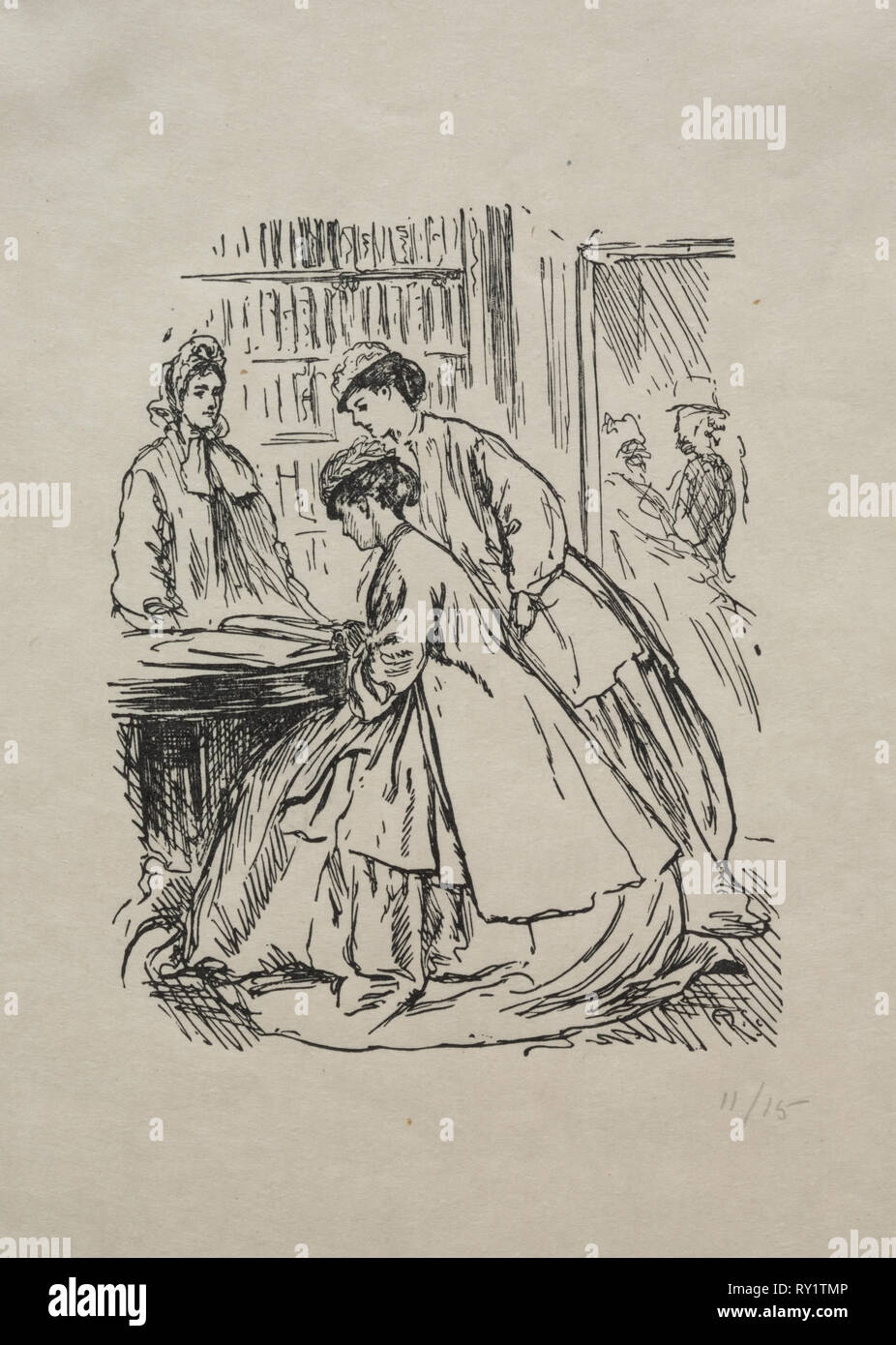 Much Ado about Nothing, 1866. George Louis Palmella Busson Du Maurier (British, 1834-1896). Wood engraving Stock Photo