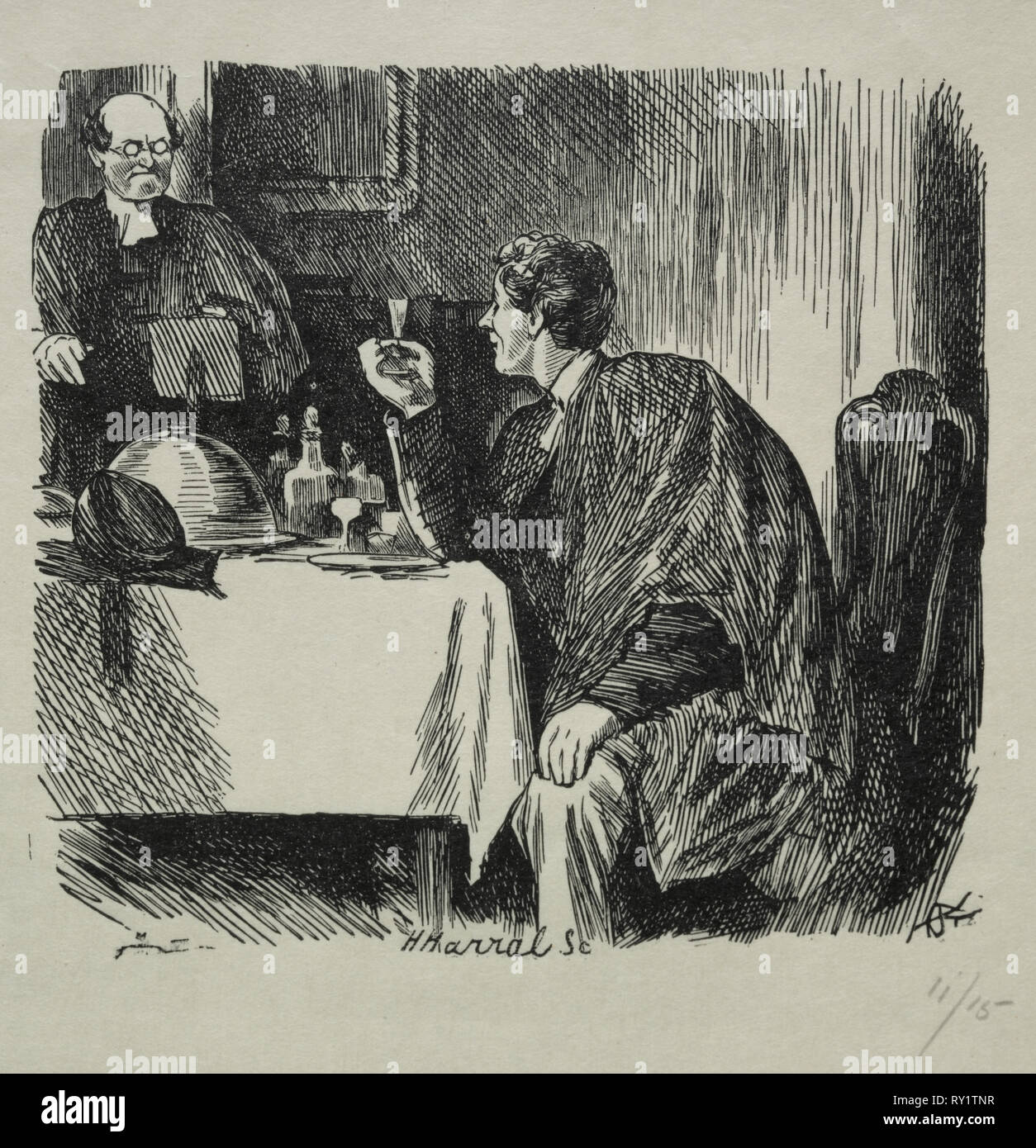 Tomkin's Degree Supper and How it Ended, 1868. Charles Samuel Keene (British, 1823-1891). Wood engraving - Stock Image