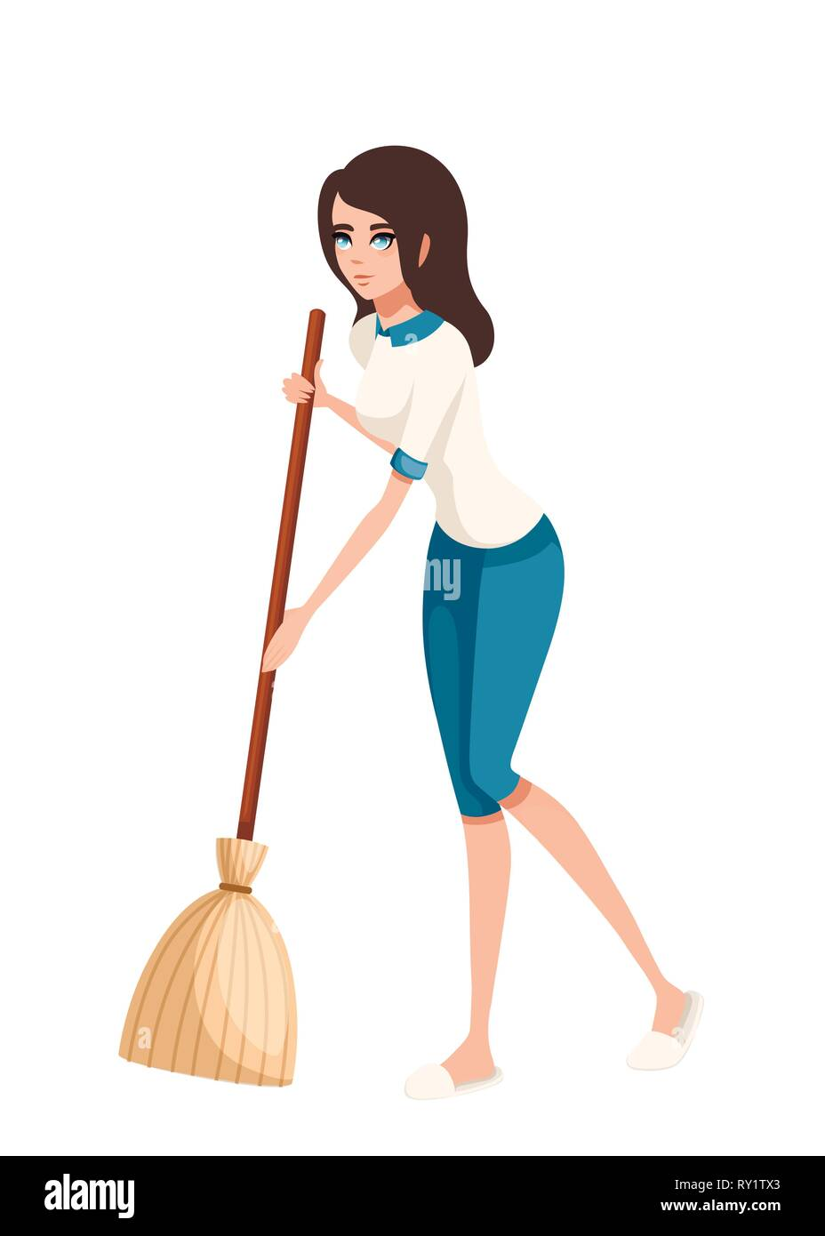 Cartoon character design. Women cleaning floor with broom. Flat vector illustration isolated on white background. - Stock Vector